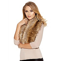 Quiz - Brown And Beige Faux Fur Scarf