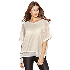 Quiz - Gold And Cream Textured Chiffon Top