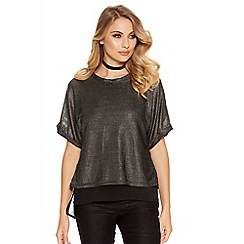 Quiz - Silver And Black Textured Chiffon Top