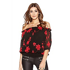 Quiz - Black and Red Floral Bardot Top