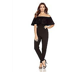 Quiz - Black Glitter Bardot Frill Jumpsuit