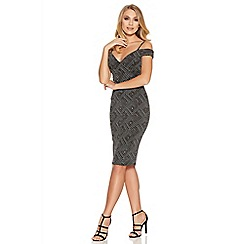 Quiz - Black And Silver Geo Glitter Bardot Dress