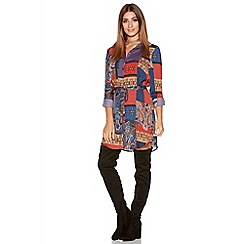 Quiz - Red And Blue Satin Tile Print Shirt Dress