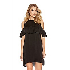 Quiz - Black Satin Frill Tunic Dress