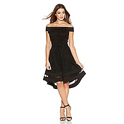 Quiz - Black Glitter Bardot Dip Hem Mesh Dress