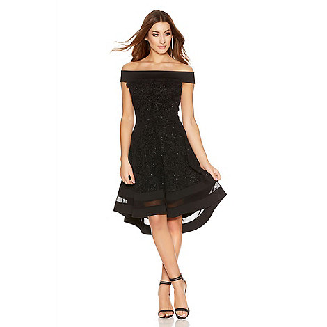 Quiz - Black Glitter Bardot Dip Hem Mesh Dress