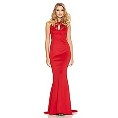 Quiz - Red Lace Detail Low Back Fishtail Maxi Dress