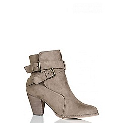 Quiz - Taupe Buckle Heeled Ankle Boots