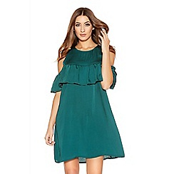 Quiz - Green Satin Frill Tunic Dress