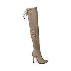 Quiz - Mocha Faux Suede Over The Knee Boots