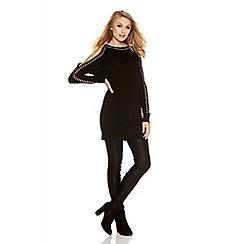 Quiz - Black Studded Cold Shoulder Jumper Dress