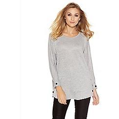Quiz - Grey Light Knit Button Side Top