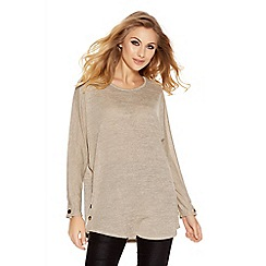 Quiz - Stone Light Knit Button Side Top