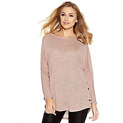 Quiz - Pink Light Knit Button Side Top