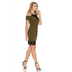 Quiz - Khaki And Black Mesh Detail Cold Shoulder Dress