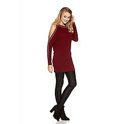 Quiz - Berry Studded Cold Shoulder Jumper Dress