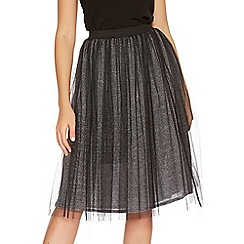 Quiz - Black And Silver Mesh Glitter Midi Skirt