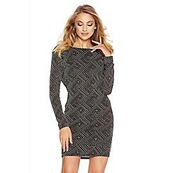 Quiz - Black And Silver Geo Glitter Cowl Back Dress