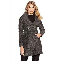 Quiz - Grey Tweed Button Front Coat