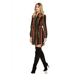 Quiz - Khaki Black And Orange Crepe Stripe Shirt Dress