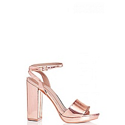 Quiz - Rose Gold Metallic Strap Heel Sandals