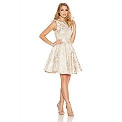 Quiz - Cream And Gold Metallic Jacquard Dress