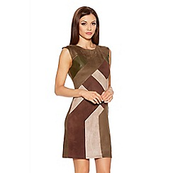 Quiz - Khaki And Brown Faux Suede Dress