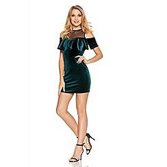 Quiz - Green And Black Velvet Mesh Frill Dress