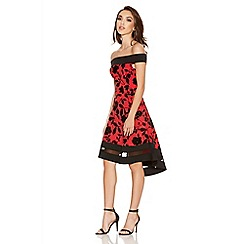 Quiz - Red And Black Glitter Flower Print Dip Hem Dress
