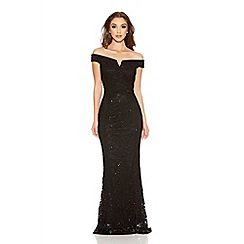 Quiz - Black Sequin Lace Bardot Fishtail Maxi Dress