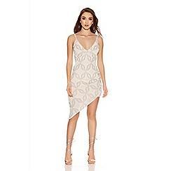 Quiz - Nude Glitter Ruched Asymmetrical Dress