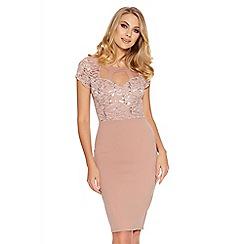Quiz - Pale Pink Sequin Lace Cut Out Midi Dress
