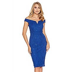 Quiz - Royal Blue Sequin Lace Bardot Midi Dress