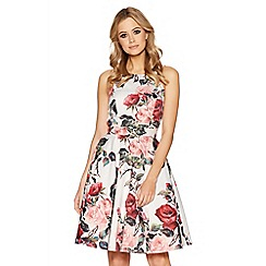 Quiz - Cream floral print high neck dress