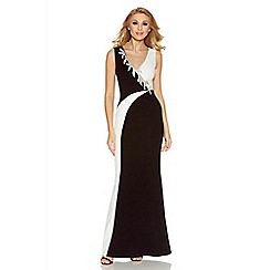 Quiz - Black contrast diamante trim maxi dress