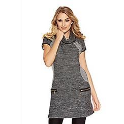 Quiz - Grey Light Knit Roll Neck Tunic