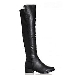 Quiz - Black PU Stretch Back Knee High Boots