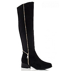 Quiz - Black Faux Suede Zip Detail Knee High Boots