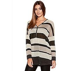 Quiz - Black And Beige Lurex Stripe Knit Top