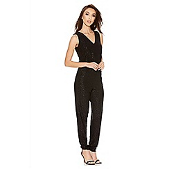 Quiz - Black Glitter Diamond V Front Jumpsuit