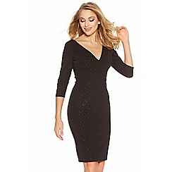 Quiz - Black Glitter Diamond V Front Dress