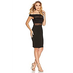 Quiz - Black Aztec Lace Bardot Dress