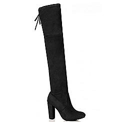 Quiz - Black Faux Suede Block Heel Over The Knee Boots