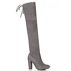 Quiz - Grey Faux Suede Block Heel Over The Knee Boots