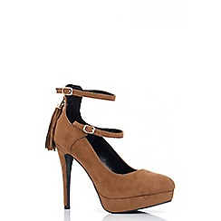 Quiz - Tan Double Strap Tassle Detail Platform Shoes