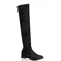 Quiz - Black Faux Suede Tie Top Over The Knee Boots