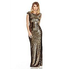 Quiz - Gold Sequin Front Split Maxi Dress