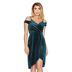 Quiz - Green Velvet Glitter Wrap Dress
