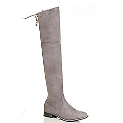 Quiz - Grey Faux Suede Tie Top Over The Knee Boots