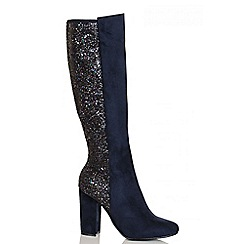 Quiz - Navy Faux Suede Glitter Long Boots